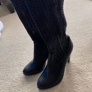 NWT Frye Crocheted Black Tall Leather Boots